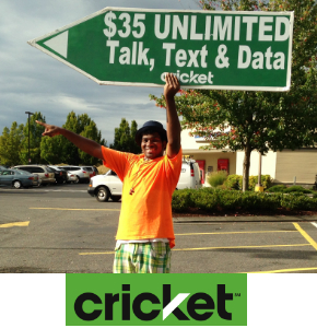 Seattle Sign Spinners promoting Cricket