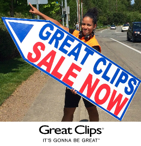 Sign SPinners in Seattle Promoting Great Clips