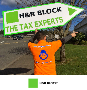 H & R Block Sign Spinner in Seattle