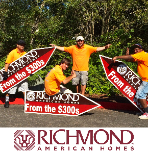 Richmond American Homes -Sign Spinners Washington with logo