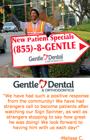 Gental Dental Sign Spinner Testimonial