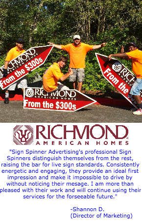 Richmond Testimonial for Sign SPinners Advertising